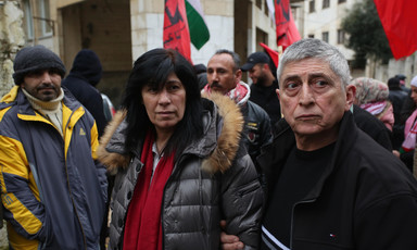 Man and woman at a demonstration