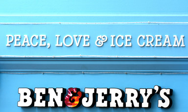 Peace, love and ice cream above words Ben and Jerry's