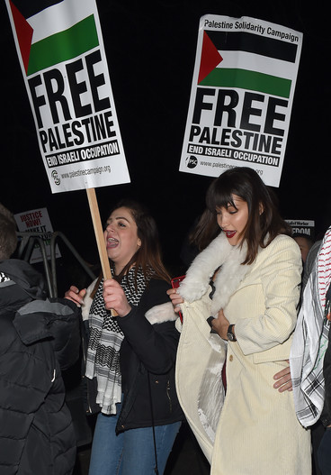 """Two women stand beside each other, one holding a placard reading """"Free Palestine"""""""